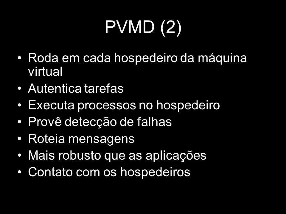 PVMD (2) Roda em cada hospedeiro da máquina virtual Autentica tarefas Executa processos no hospedeiro Provê detecção de falhas Roteia mensagens Mais r