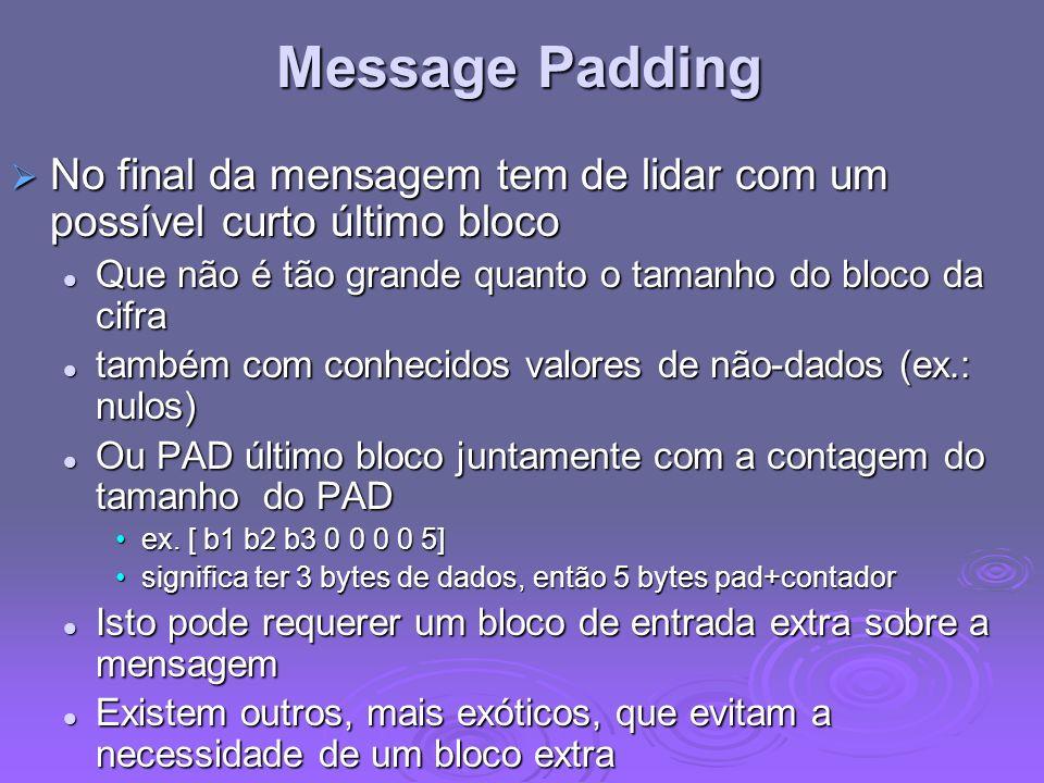 Message Padding No final da mensagem tem de lidar com um possível curto último bloco No final da mensagem tem de lidar com um possível curto último bl