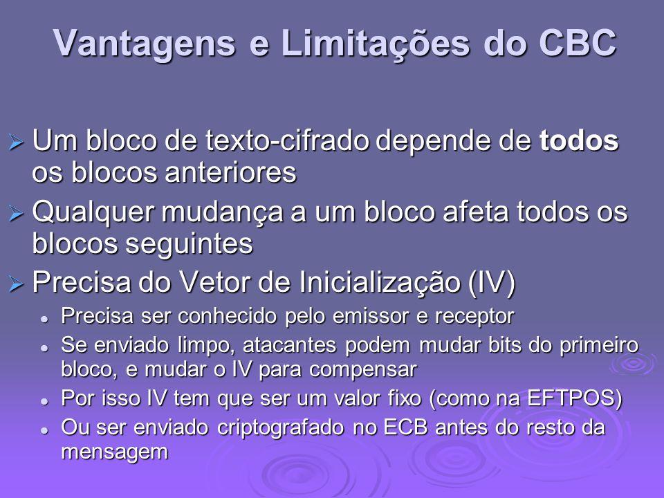 Vantagens e Limitações do CBC Um bloco de texto-cifrado depende de todos os blocos anteriores Um bloco de texto-cifrado depende de todos os blocos ant