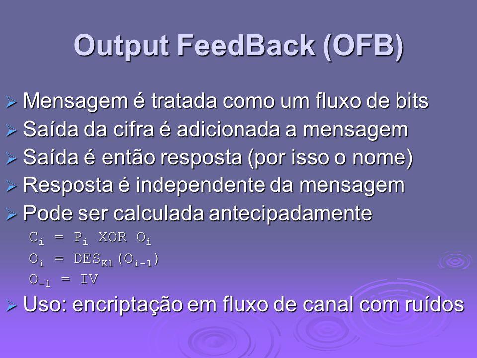 Output FeedBack (OFB) Mensagem é tratada como um fluxo de bits Mensagem é tratada como um fluxo de bits Saída da cifra é adicionada a mensagem Saída d