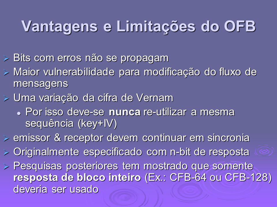 Vantagens e Limitações do OFB Bits com erros não se propagam Bits com erros não se propagam Maior vulnerabilidade para modificação do fluxo de mensage