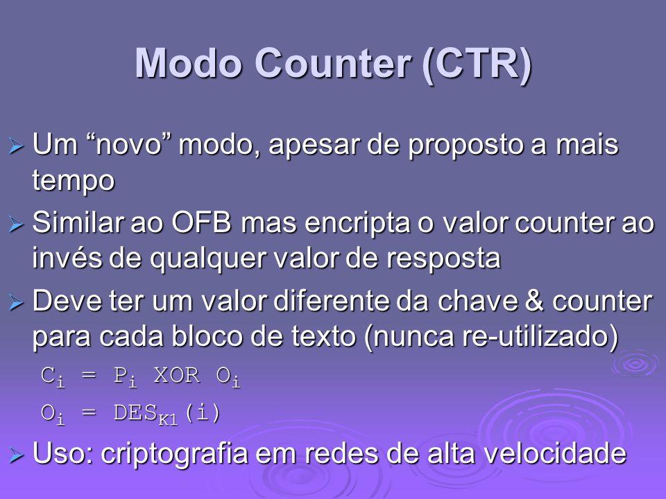 Modo Counter (CTR) Um novo modo, apesar de proposto a mais tempo Um novo modo, apesar de proposto a mais tempo Similar ao OFB mas encripta o valor cou