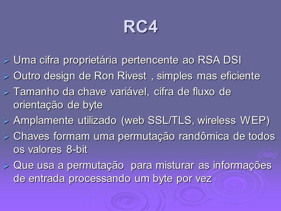 RC4 Uma cifra proprietária pertencente ao RSA DSI Uma cifra proprietária pertencente ao RSA DSI Outro design de Ron Rivest, simples mas eficiente Outr