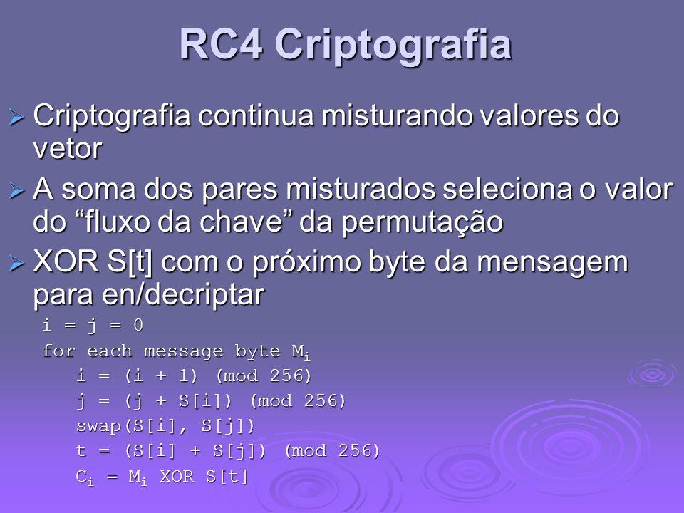 RC4 Criptografia Criptografia continua misturando valores do vetor Criptografia continua misturando valores do vetor A soma dos pares misturados selec