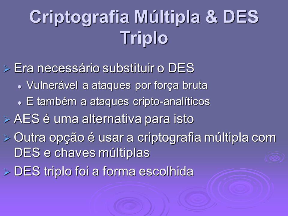 Criptografia Múltipla & DES Triplo Era necessário substituir o DES Era necessário substituir o DES Vulnerável a ataques por força bruta Vulnerável a a