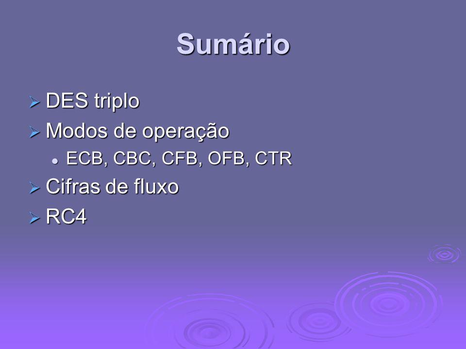 Sumário DES triplo DES triplo Modos de operação Modos de operação ECB, CBC, CFB, OFB, CTR ECB, CBC, CFB, OFB, CTR Cifras de fluxo Cifras de fluxo RC4