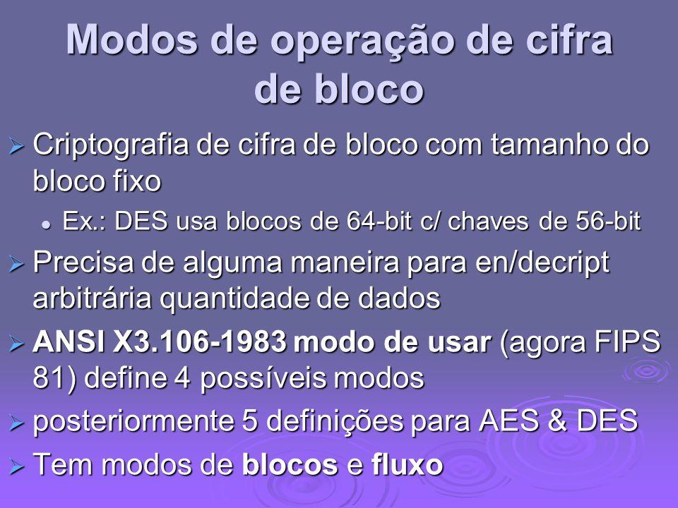 Modos de operação de cifra de bloco Criptografia de cifra de bloco com tamanho do bloco fixo Criptografia de cifra de bloco com tamanho do bloco fixo