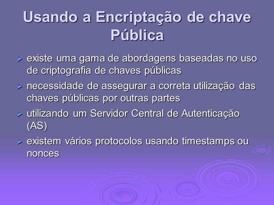 Usando a Encriptação de chave Pública existe uma gama de abordagens baseadas no uso de criptografia de chaves públicas existe uma gama de abordagens b