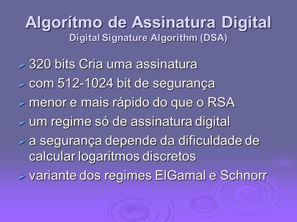Algorítmo de Assinatura Digital Digital Signature Algorithm (DSA) 320 bits Cria uma assinatura 320 bits Cria uma assinatura com 512-1024 bit de segura