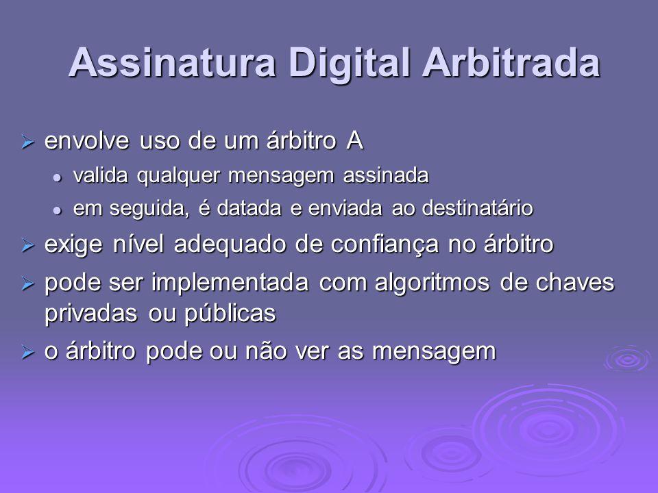Assinatura Digital Arbitrada Assinatura Digital Arbitrada envolve uso de um árbitro A envolve uso de um árbitro A valida qualquer mensagem assinada va