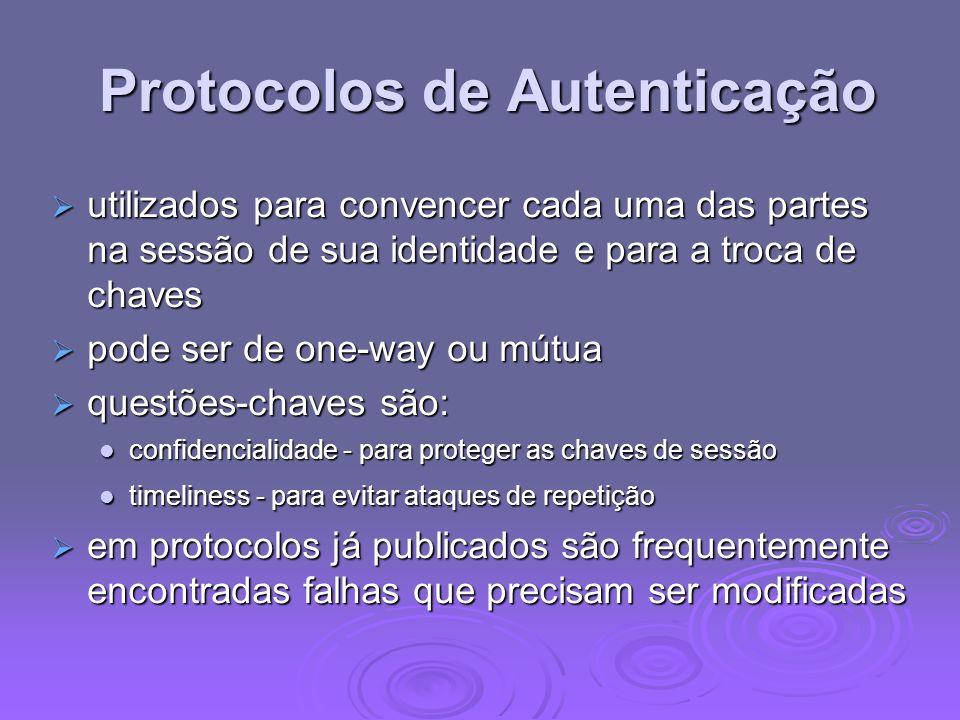 Protocolos de Autenticação Protocolos de Autenticação utilizados para convencer cada uma das partes na sessão de sua identidade e para a troca de chav