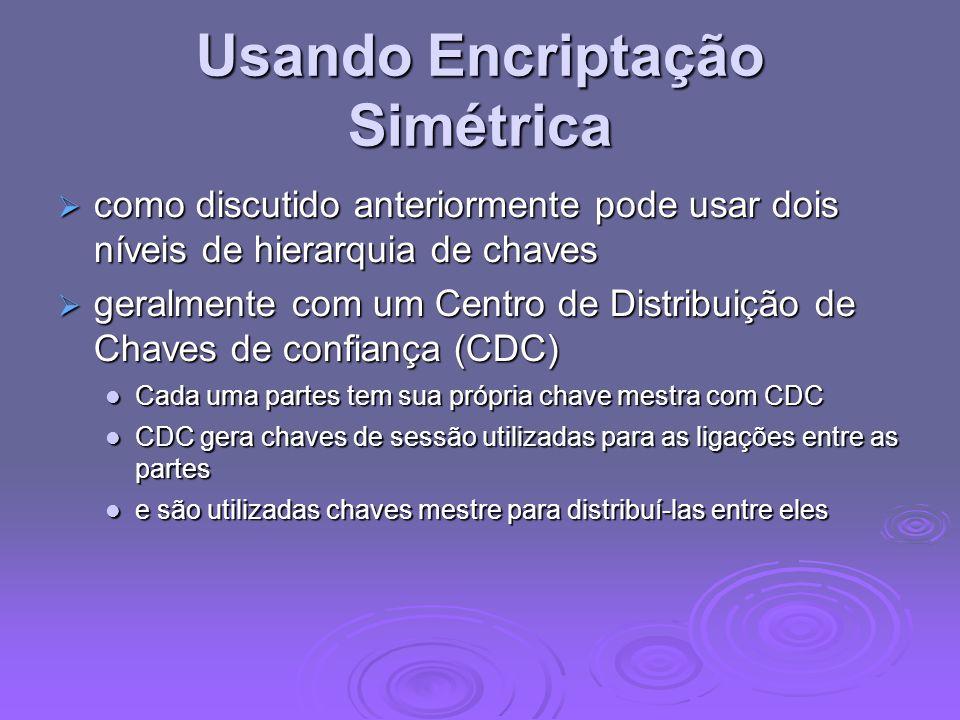 Usando Encriptação Simétrica como discutido anteriormente pode usar dois níveis de hierarquia de chaves como discutido anteriormente pode usar dois ní