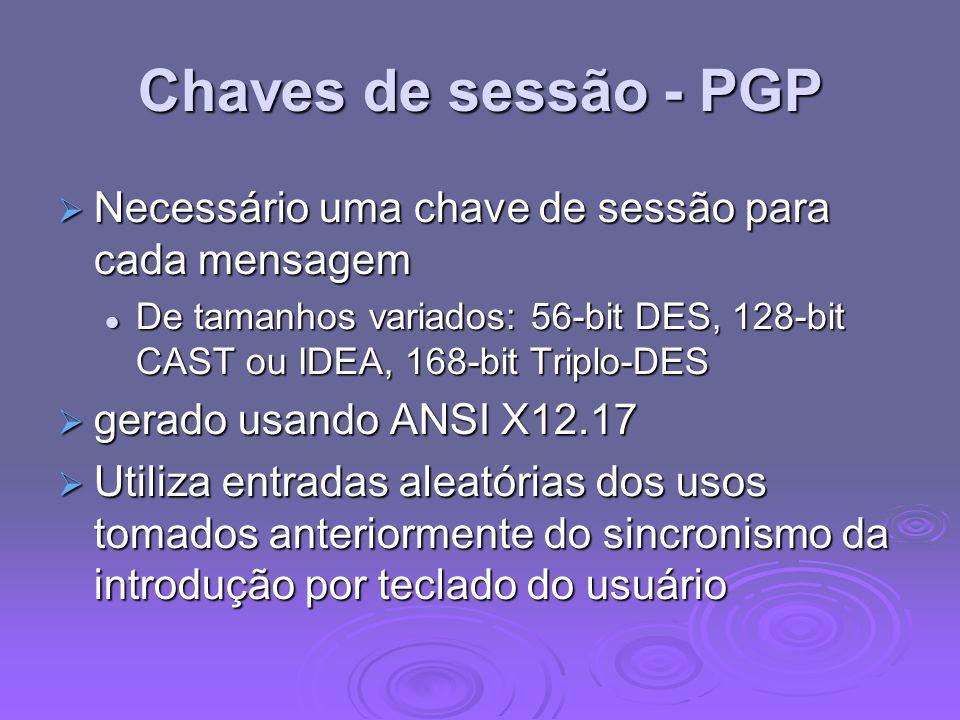 Chaves de sessão - PGP Necessário uma chave de sessão para cada mensagem Necessário uma chave de sessão para cada mensagem De tamanhos variados: 56-bi