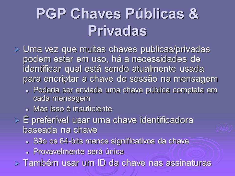 PGP Chaves Públicas & Privadas Uma vez que muitas chaves publicas/privadas podem estar em uso, há a necessidades de identificar qual está sendo atualm