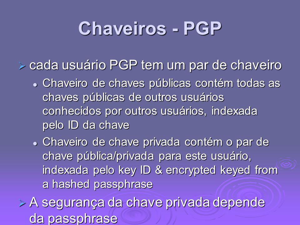 Chaveiros - PGP cada usuário PGP tem um par de chaveiro cada usuário PGP tem um par de chaveiro Chaveiro de chaves públicas contém todas as chaves púb