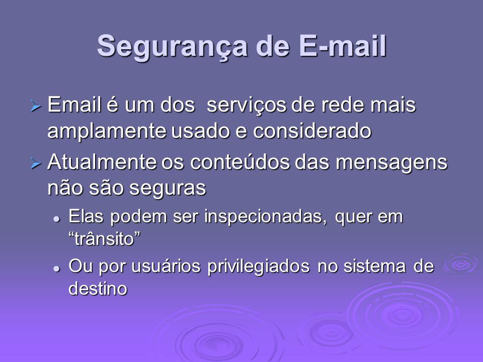 Segurança de E-mail Email é um dos serviços de rede mais amplamente usado e considerado Email é um dos serviços de rede mais amplamente usado e consid