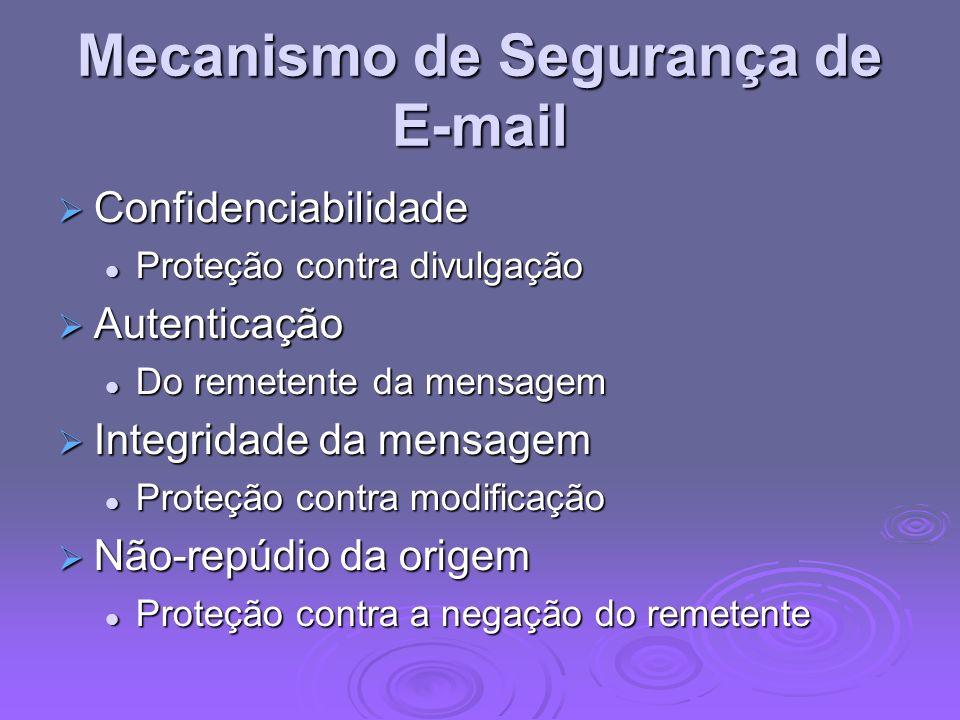 Mecanismo de Segurança de E-mail Confidenciabilidade Confidenciabilidade Proteção contra divulgação Proteção contra divulgação Autenticação Autenticaç
