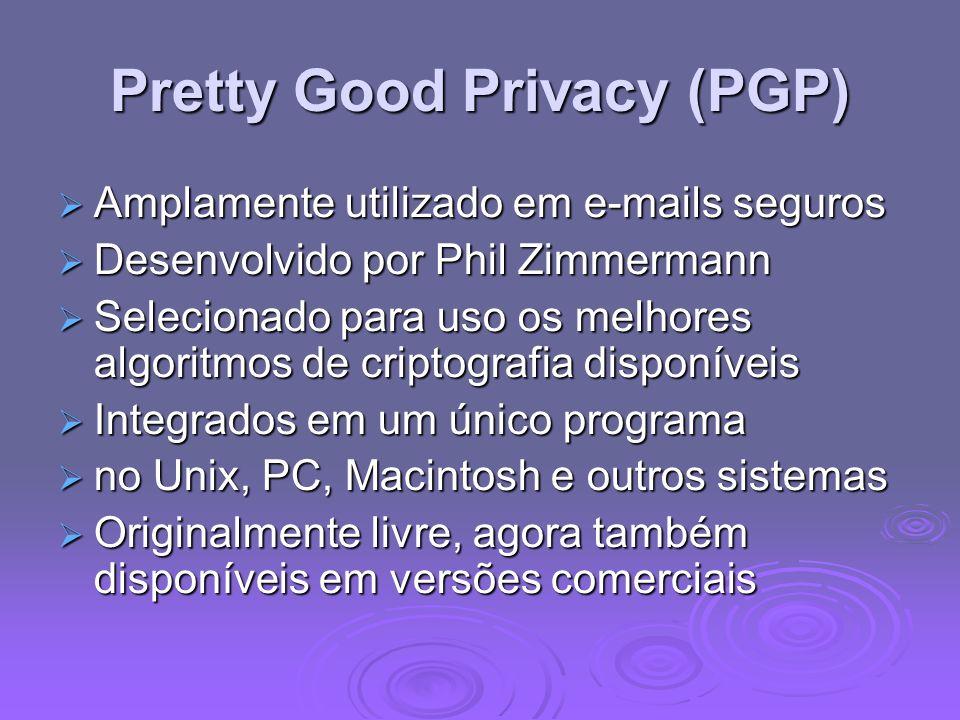 Pretty Good Privacy (PGP) Amplamente utilizado em e-mails seguros Amplamente utilizado em e-mails seguros Desenvolvido por Phil Zimmermann Desenvolvid