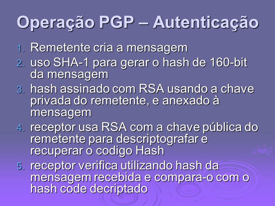 Operação PGP – Autenticação 1. Remetente cria a mensagem 2. uso SHA-1 para gerar o hash de 160-bit da mensagem 3. hash assinado com RSA usando a chave