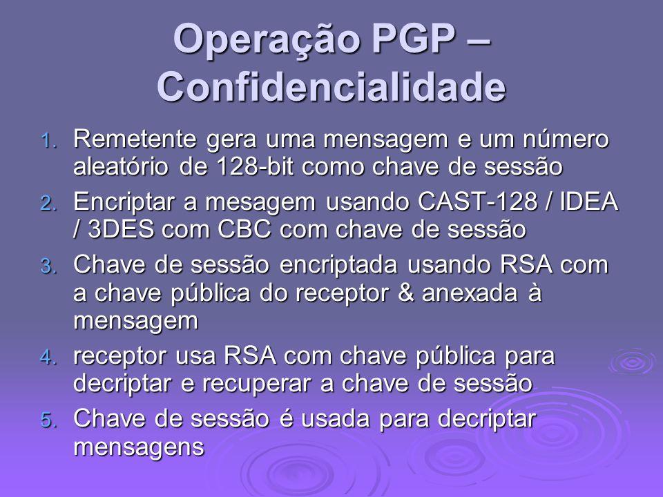 Operação PGP – Confidencialidade 1. Remetente gera uma mensagem e um número aleatório de 128-bit como chave de sessão 2. Encriptar a mesagem usando CA
