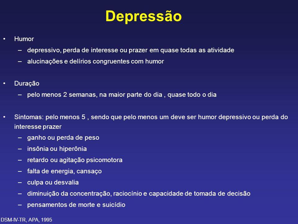 Depressão Humor –depressivo, perda de interesse ou prazer em quase todas as atividade –alucinações e delírios congruentes com humor Duração –pelo meno