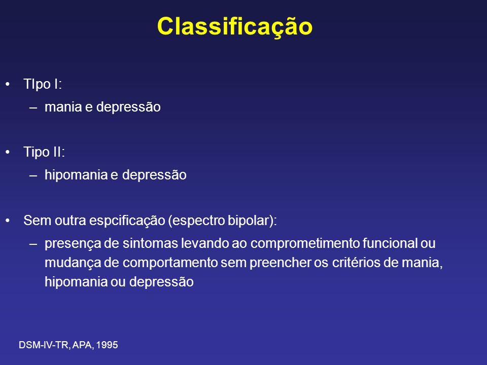 Classificação TIpo I: –mania e depressão Tipo II: –hipomania e depressão Sem outra espcificação (espectro bipolar): –presença de sintomas levando ao comprometimento funcional ou mudança de comportamento sem preencher os critérios de mania, hipomania ou depressão DSM-IV-TR, APA, 1995
