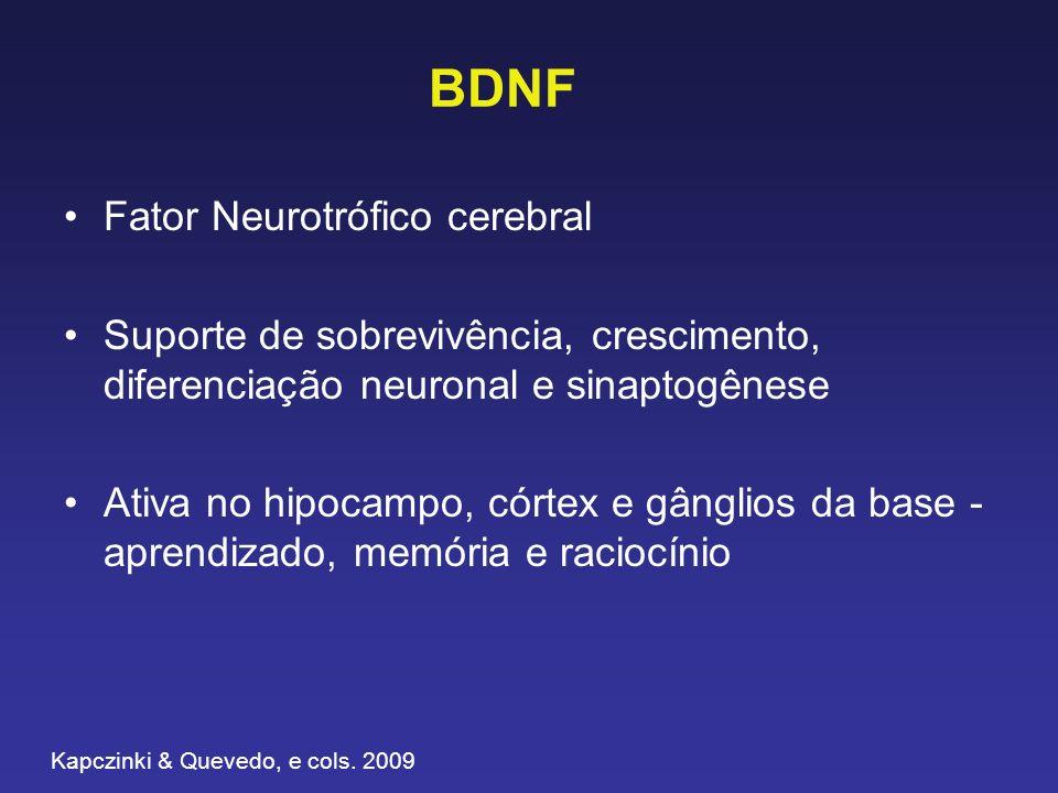 BDNF Fator Neurotrófico cerebral Suporte de sobrevivência, crescimento, diferenciação neuronal e sinaptogênese Ativa no hipocampo, córtex e gânglios da base - aprendizado, memória e raciocínio Kapczinki & Quevedo, e cols.