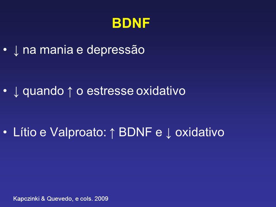 BDNF na mania e depressão quando o estresse oxidativo Lítio e Valproato: BDNF e oxidativo Kapczinki & Quevedo, e cols. 2009