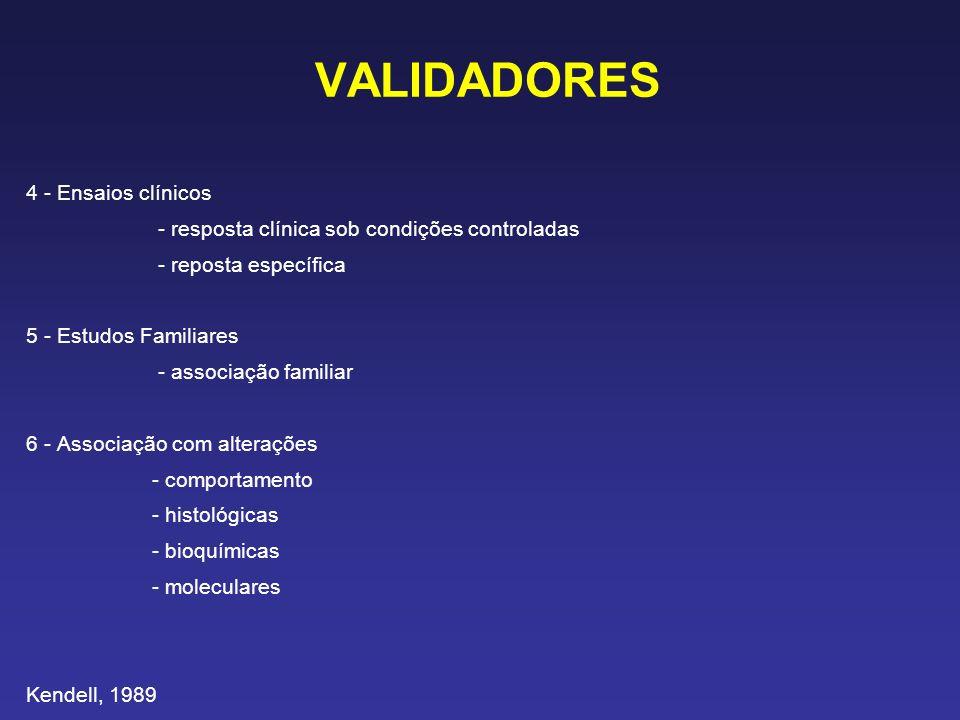 VALIDADORES 4 - Ensaios clínicos - resposta clínica sob condições controladas - reposta específica 5 - Estudos Familiares - associação familiar 6 - As