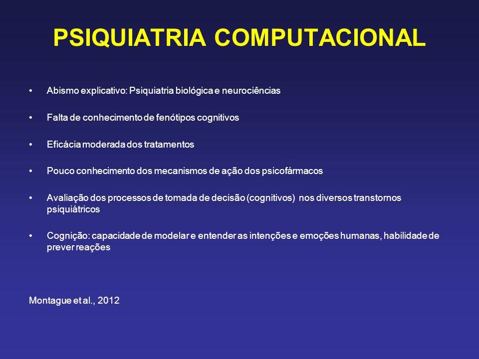 PSIQUIATRIA COMPUTACIONAL Abismo explicativo: Psiquiatria biológica e neurociências Falta de conhecimento de fenótipos cognitivos Eficácia moderada dos tratamentos Pouco conhecimento dos mecanismos de ação dos psicofármacos Avaliação dos processos de tomada de decisão (cognitivos) nos diversos transtornos psiquiátricos Cognição: capacidade de modelar e entender as intenções e emoções humanas, habilidade de prever reações Montague et al., 2012