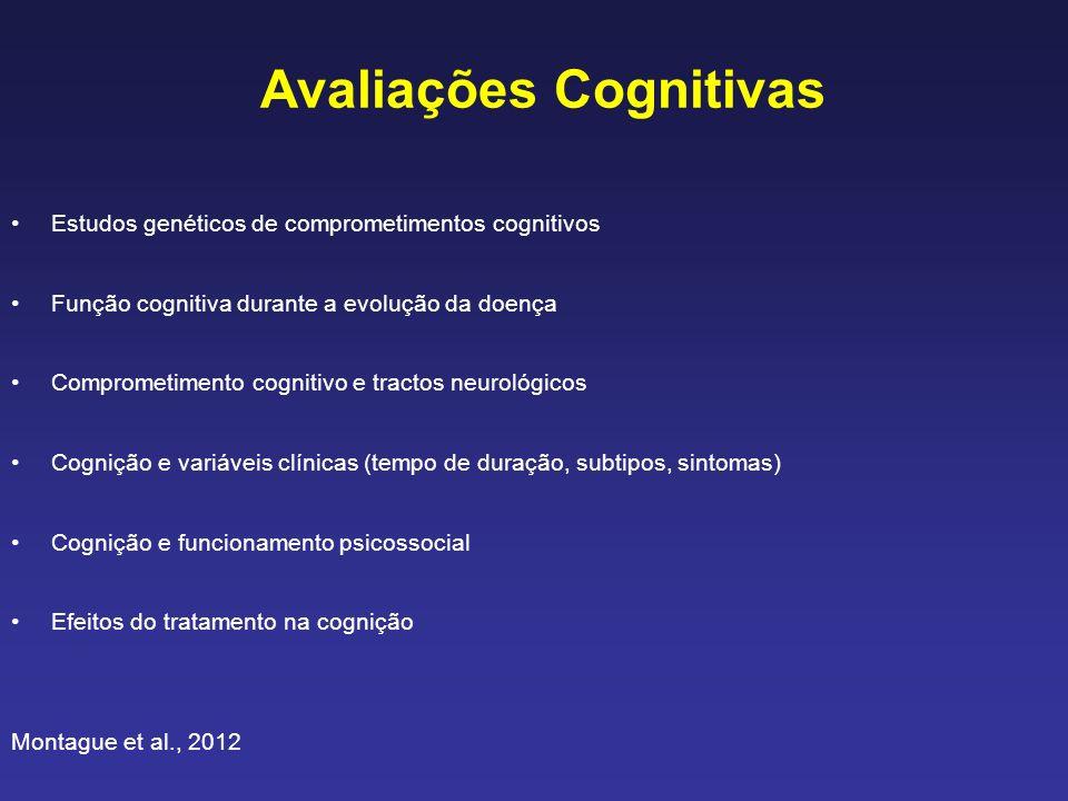 Avaliações Cognitivas Estudos genéticos de comprometimentos cognitivos Função cognitiva durante a evolução da doença Comprometimento cognitivo e tract