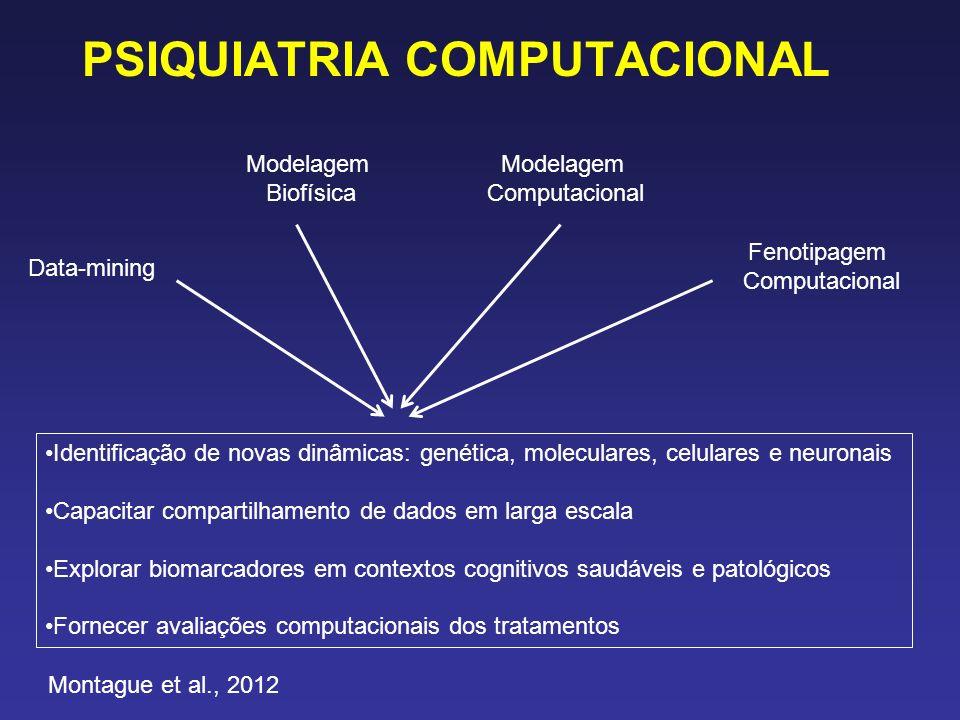 PSIQUIATRIA COMPUTACIONAL Data-mining Modelagem Biofísica Modelagem Computacional Fenotipagem Computacional Identificação de novas dinâmicas: genética, moleculares, celulares e neuronais Capacitar compartilhamento de dados em larga escala Explorar biomarcadores em contextos cognitivos saudáveis e patológicos Fornecer avaliações computacionais dos tratamentos Montague et al., 2012