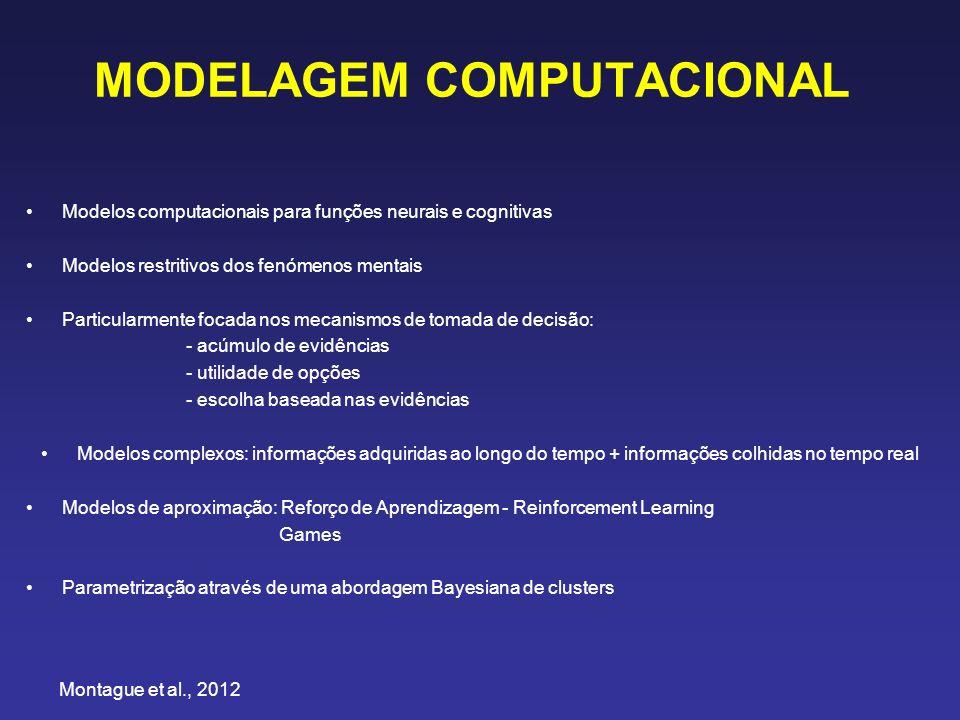 MODELAGEM COMPUTACIONAL Modelos computacionais para funções neurais e cognitivas Modelos restritivos dos fenómenos mentais Particularmente focada nos mecanismos de tomada de decisão: - acúmulo de evidências - utilidade de opções - escolha baseada nas evidências Modelos complexos: informações adquiridas ao longo do tempo + informações colhidas no tempo real Modelos de aproximação: Reforço de Aprendizagem - Reinforcement Learning Games Parametrização através de uma abordagem Bayesiana de clusters Montague et al., 2012