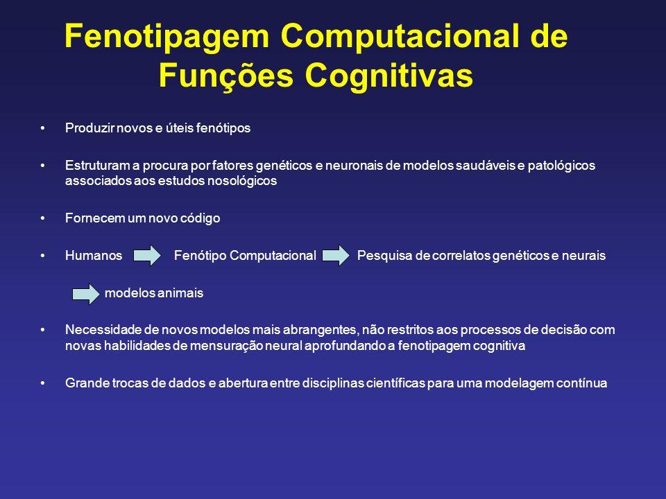 Fenotipagem Computacional de Funções Cognitivas Produzir novos e úteis fenótipos Estruturam a procura por fatores genéticos e neuronais de modelos saudáveis e patológicos associados aos estudos nosológicos Fornecem um novo código Humanos Fenótipo Computacional Pesquisa de correlatos genéticos e neurais modelos animais Necessidade de novos modelos mais abrangentes, não restritos aos processos de decisão com novas habilidades de mensuração neural aprofundando a fenotipagem cognitiva Grande trocas de dados e abertura entre disciplinas científicas para uma modelagem contínua