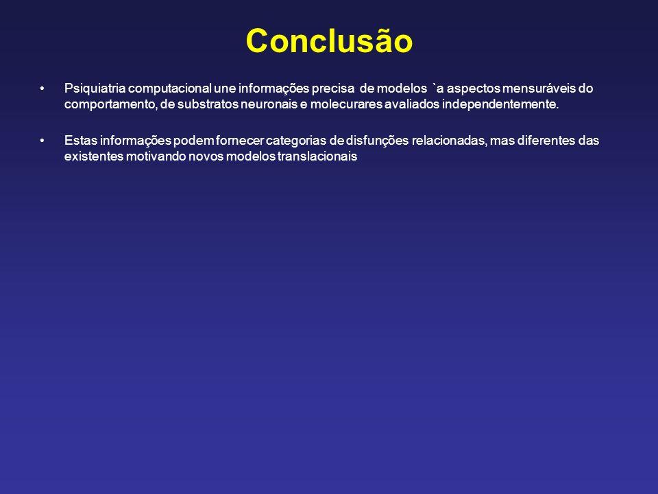 Conclusão Psiquiatria computacional une informações precisa de modelos `a aspectos mensuráveis do comportamento, de substratos neuronais e molecurares