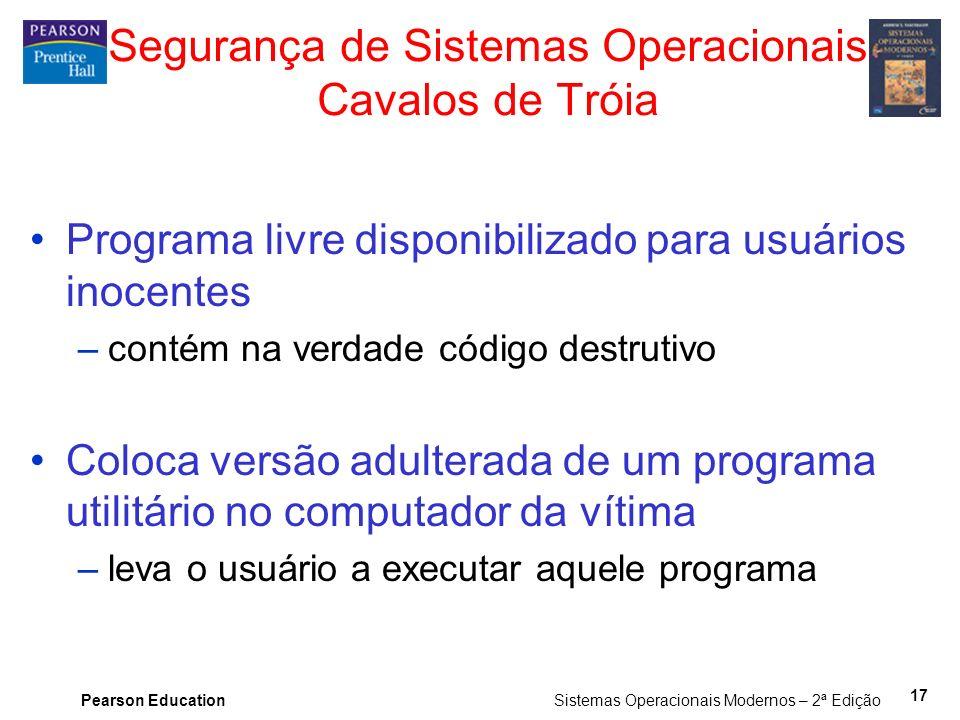 Pearson Education Sistemas Operacionais Modernos – 2ª Edição 17 Segurança de Sistemas Operacionais Cavalos de Tróia Programa livre disponibilizado par
