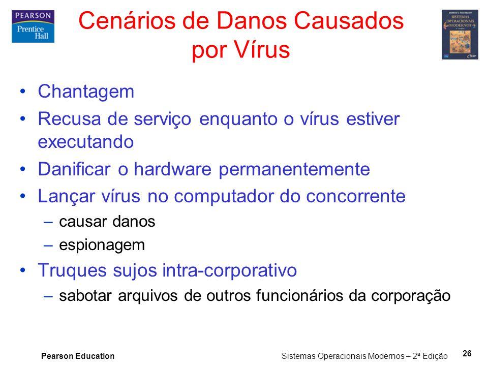 Pearson Education Sistemas Operacionais Modernos – 2ª Edição 26 Cenários de Danos Causados por Vírus Chantagem Recusa de serviço enquanto o vírus esti