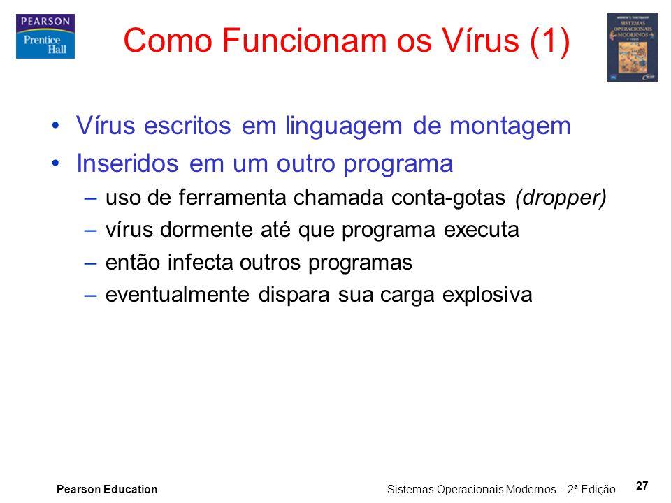 Pearson Education Sistemas Operacionais Modernos – 2ª Edição 27 Como Funcionam os Vírus (1) Vírus escritos em linguagem de montagem Inseridos em um ou