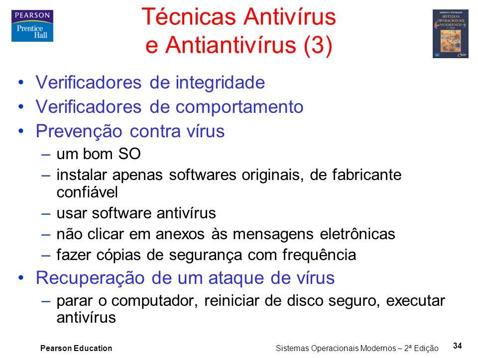 Pearson Education Sistemas Operacionais Modernos – 2ª Edição 34 Verificadores de integridade Verificadores de comportamento Prevenção contra vírus –um