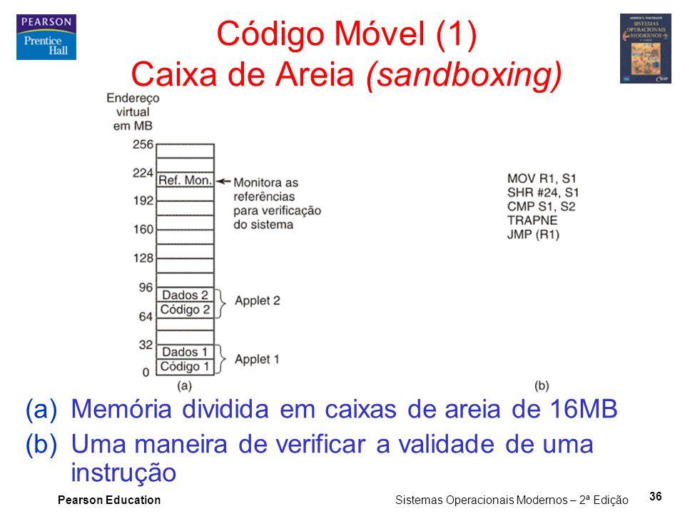 Pearson Education Sistemas Operacionais Modernos – 2ª Edição 36 Código Móvel (1) Caixa de Areia (sandboxing) (a)Memória dividida em caixas de areia de