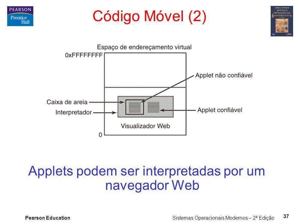 Pearson Education Sistemas Operacionais Modernos – 2ª Edição 37 Código Móvel (2) Applets podem ser interpretadas por um navegador Web