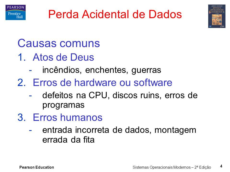 Pearson Education Sistemas Operacionais Modernos – 2ª Edição 4 Perda Acidental de Dados Causas comuns 1.Atos de Deus -incêndios, enchentes, guerras 2.