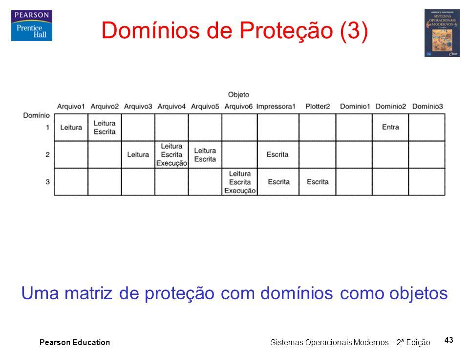 Pearson Education Sistemas Operacionais Modernos – 2ª Edição 43 Uma matriz de proteção com domínios como objetos Domínios de Proteção (3)