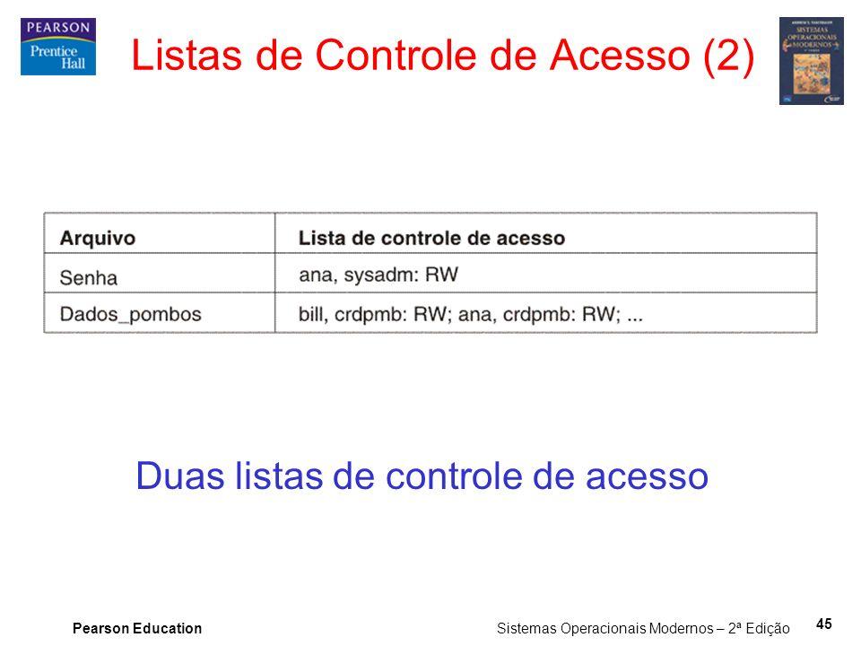 Pearson Education Sistemas Operacionais Modernos – 2ª Edição 45 Duas listas de controle de acesso Listas de Controle de Acesso (2)