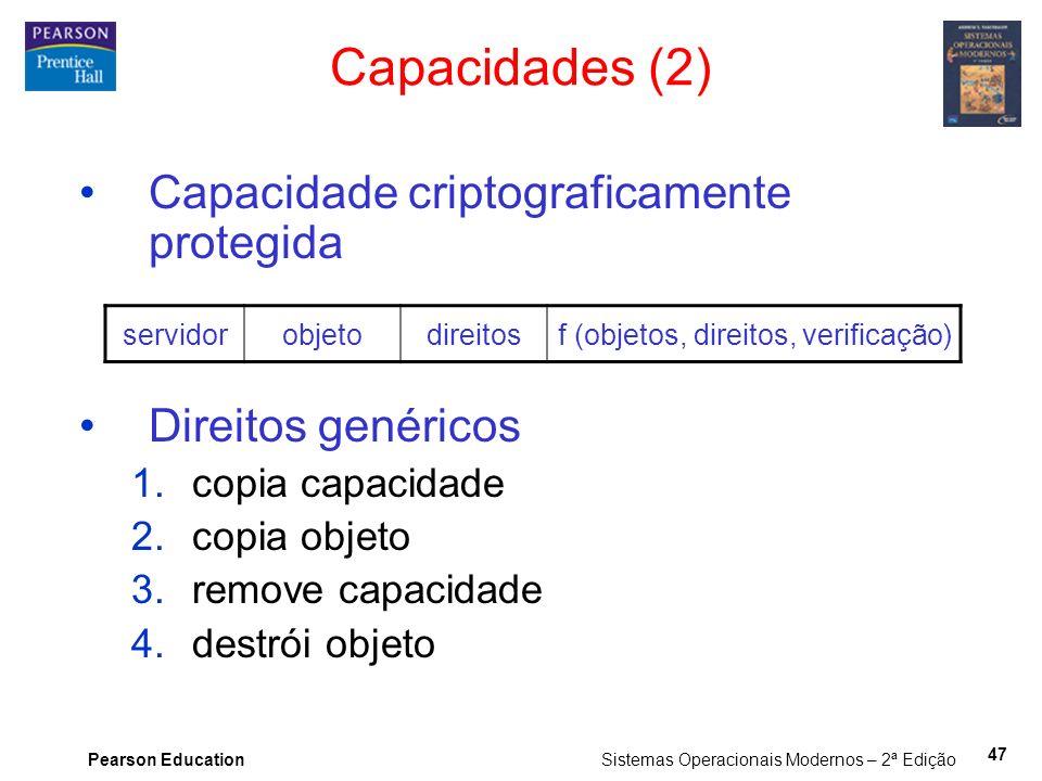 Pearson Education Sistemas Operacionais Modernos – 2ª Edição 47 Capacidade criptograficamente protegida Direitos genéricos 1.copia capacidade 2.copia