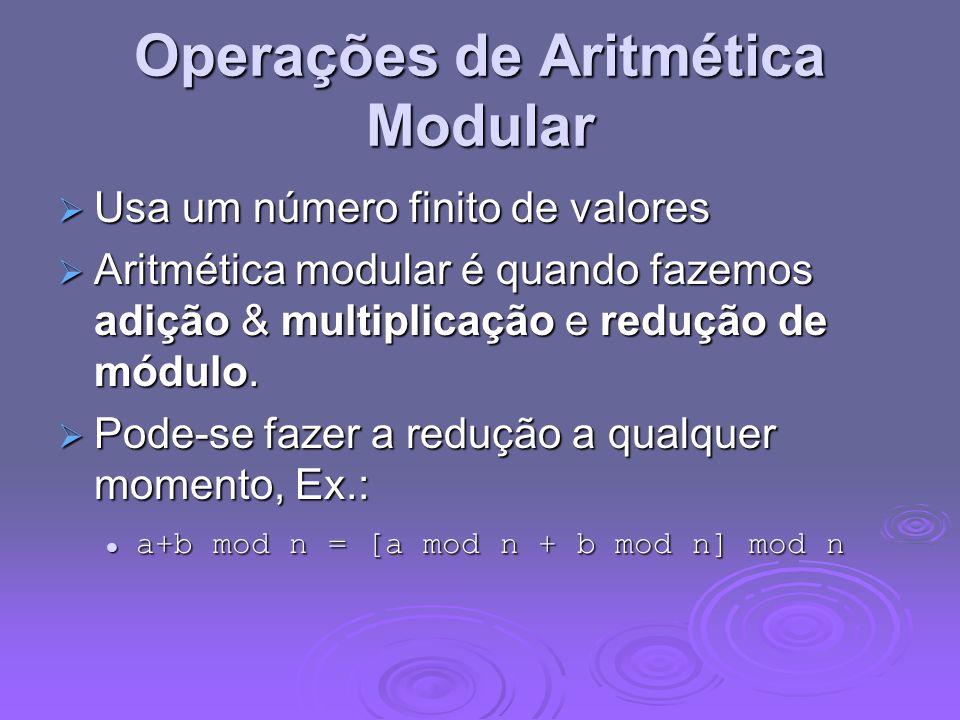 Operações de Aritmética Modular Usa um número finito de valores Usa um número finito de valores Aritmética modular é quando fazemos adição & multiplic