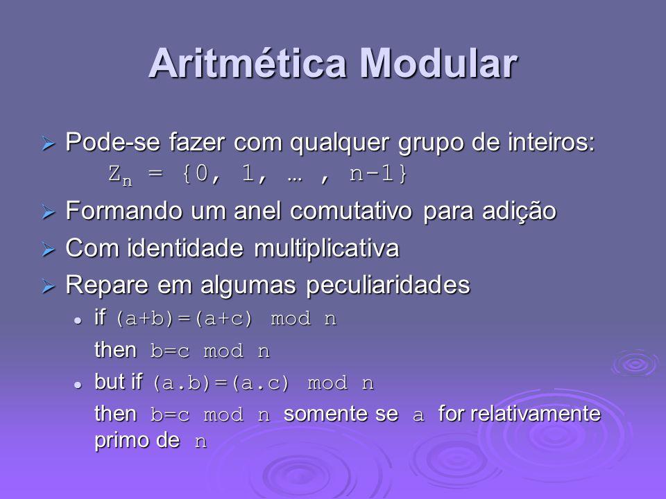Aritmética Modular Pode-se fazer com qualquer grupo de inteiros: Z n = {0, 1, …, n-1} Pode-se fazer com qualquer grupo de inteiros: Z n = {0, 1, …, n-