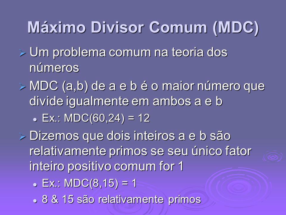 Máximo Divisor Comum (MDC) Um problema comum na teoria dos números Um problema comum na teoria dos números MDC (a,b) de a e b é o maior número que div