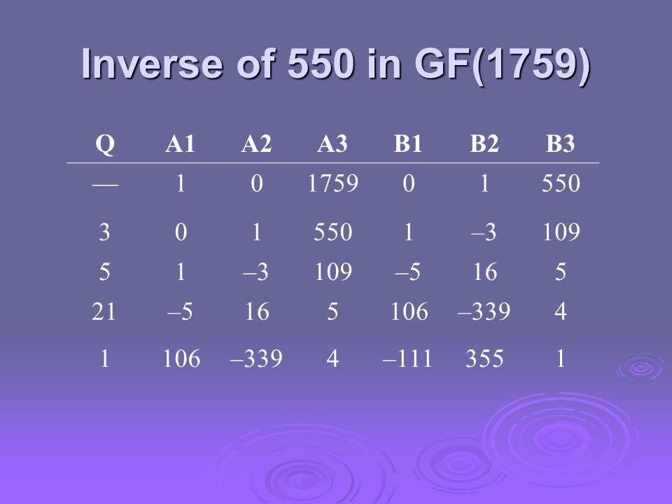 Inverse of 550 in GF(1759) QA1A2A3B1B2B3 10175901550 301 1–3109 51–3109–5165 21–5165106–3394 1106–3394–1113551