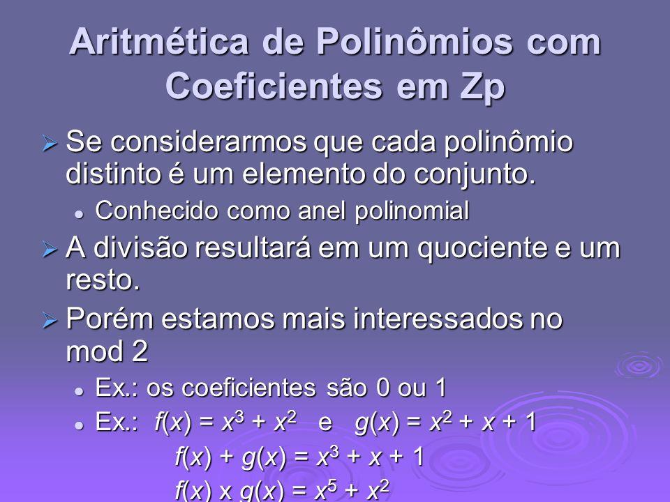 Aritmética de Polinômios com Coeficientes em Zp Se considerarmos que cada polinômio distinto é um elemento do conjunto. Se considerarmos que cada poli